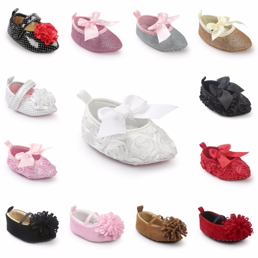 Newborn Toddler Baby Girls Shoes Bowknot Bling First Walkers Soft Sole Shoes 15M
