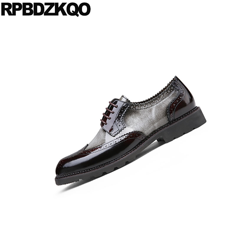 Y Zapatos Clásico Hombres Gris Italia Italiano Primavera Marca Europeo Otoño Brogue Fiesta Cuero Wingtip Baile Vestido Patente rojo Oxfords De zxSw5Wq5