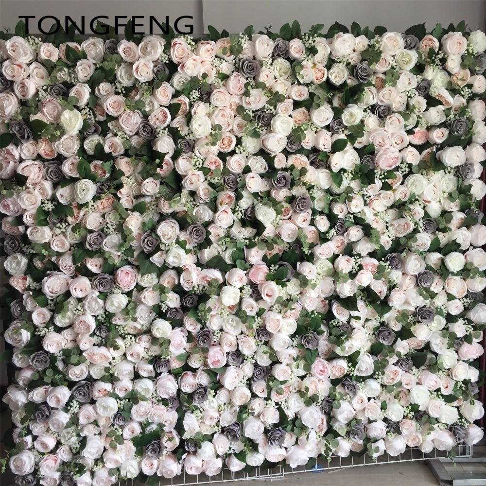 TONGFENG 24 قطعة/الوحدة Mixcolor الزفاف 3D زهرة الجدار زهرة عداء الزفاف الحرير الاصطناعي روز الفاوانيا الزفاف خلفية الديكور-في زهور مجففة واصطناعية من المنزل والحديقة على  مجموعة 1