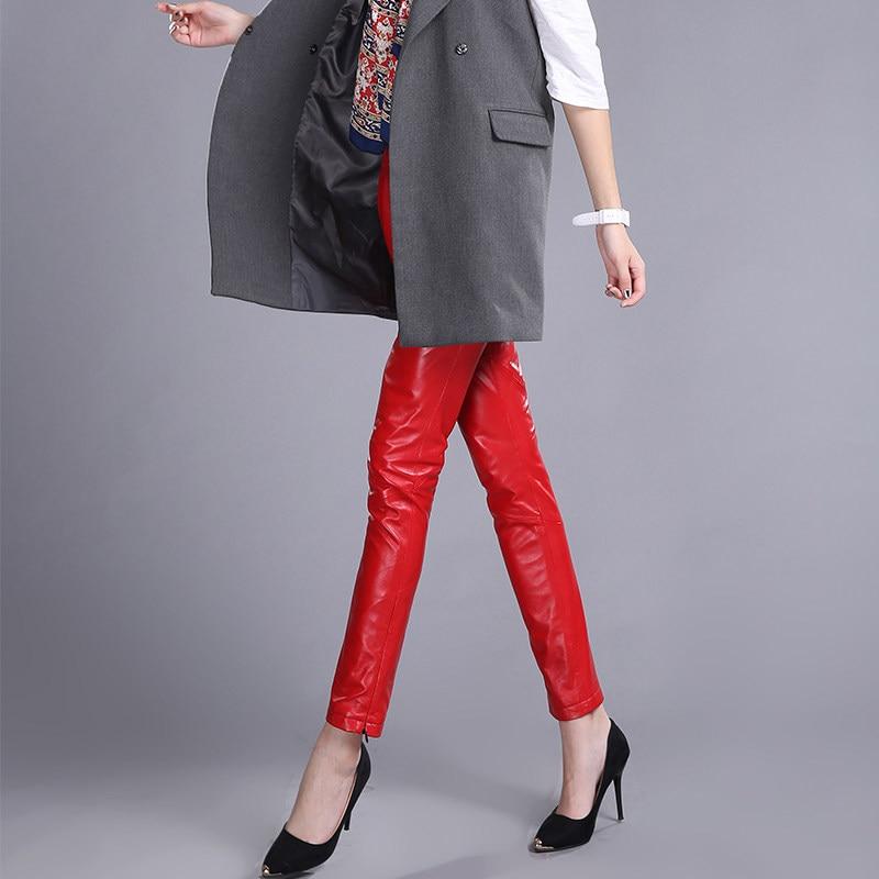 Hosen Elegante Schwarz Schaffell red Frauen Dünnes Mujer Büro Taille Hohe Pantalon Qualität Leder Black Dame Rot Faltete Bleistift rqP7Uwrtn