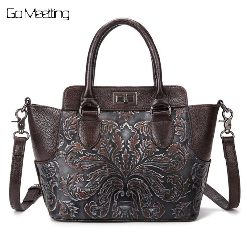 Go Meetting Brush Color Women Handbag Genuine Leather Embossed Female Shoulder Bags Vintage Ladies cross body Messenger Bag New genuine leather cross body top handle bags embossed natural skin hobo vintage female women messenger shoulder tote handbag
