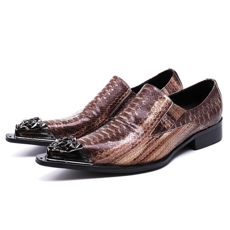 Spitz An Luxus Größe Für Hochzeit Müßiggänger Runway Schlupf Tanz Plus Brown Echten Party Sl115 Des Leders Schuhe Mann Männer Alligator twXdnq
