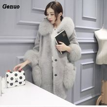 Genuo Winter Luxury Faux Fox Fur Coat Slim Long Faux Fur Jacket Overcoat Women Hooded Fur Pocket Warm Coat Outwear Party Clothes drawstring zip pocket faux fur hooded flocking jacket