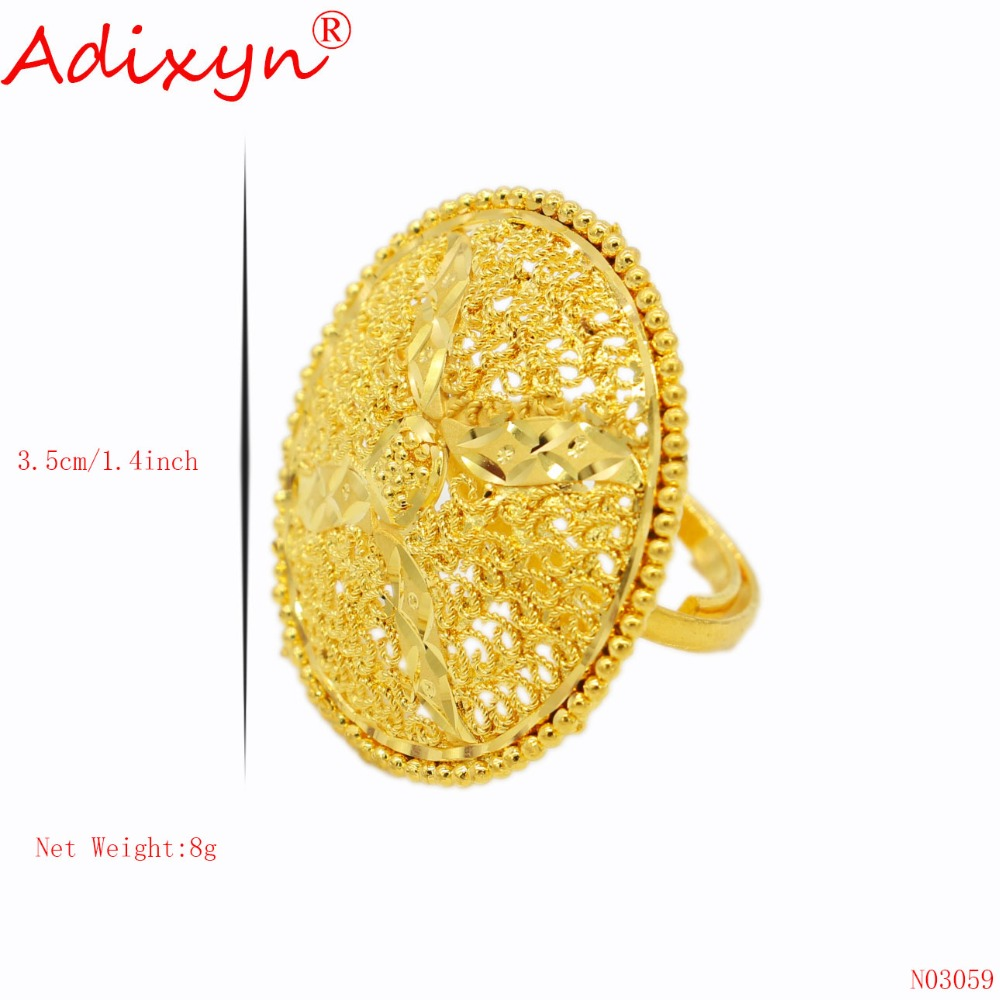 Adixyn Round Hollow Big Size Finger Rings for Women Girls Gold Color Exaggeration Party Wedding Jewelry N03059 in Rings from Jewelry Accessories