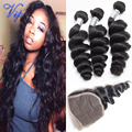 Malaysian Loose Wave With Closure Unprocessed Human Hair Wave Malaysian Virgin Hair Loose Wave With Lace Closure Ali Moda Hair