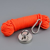 180Kg Magnet 60mm Neodymium Permanent N52 Magnet Strong Fishing Magnets Design Magnet with 15m Rope Magnetic Material Base