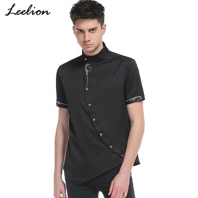 dd7f094da85 LeeLion 2018 Spring Summer Short Sleeve Shirt Men Oblique Irregular Fashion  Embroidery Camisa Masculina Male Slim Fit Shirts