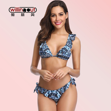 Frilled Floral Printing Backless Bathing Suit Bandeau High Waist Female Beach Swimwear Three Colors Available Biquini bikini Set