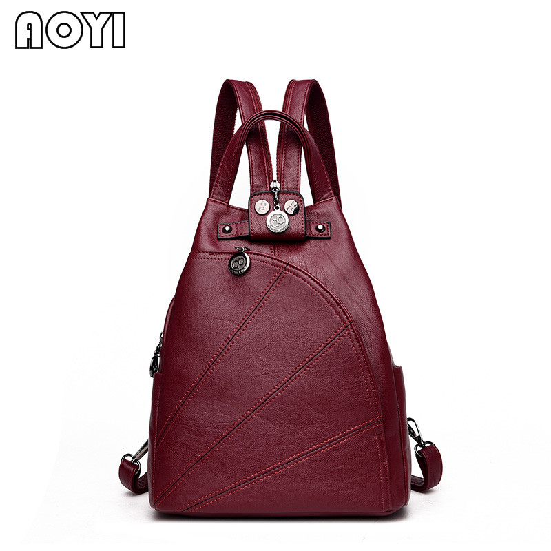 AOYI Casual Women Backpack Fashion Lady PU Leather Backpacks Female Shoulder Bags School Back Bag Rucksack