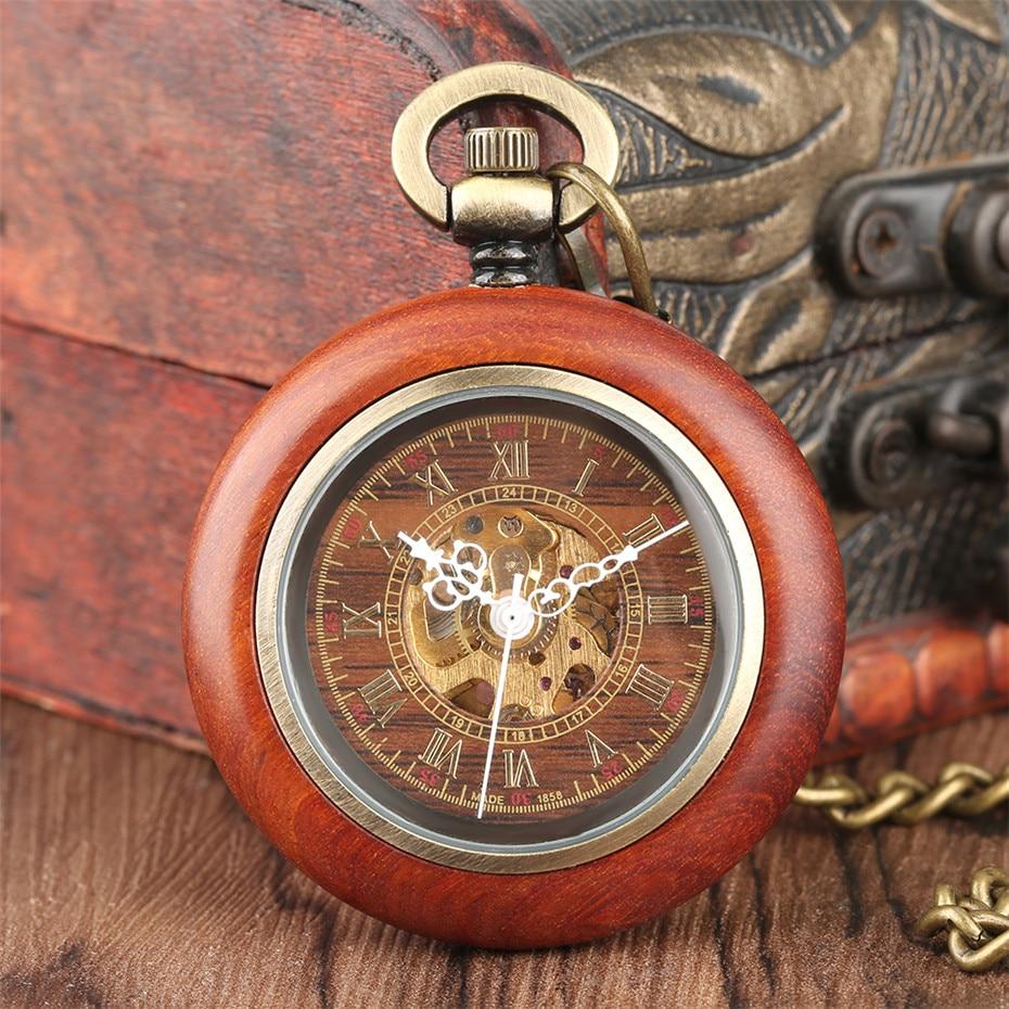 Image 5 - W stylu Vintage czerwony drewniane przypadku mechaniczny zegarek kieszonkowy łańcucha automatyczne self wiatr zegarki Fob otwarta twarz Unisex zegar prezenty dla mężczyźni kobietyZegarki kieszonkowe i zegarki z dewizką   -