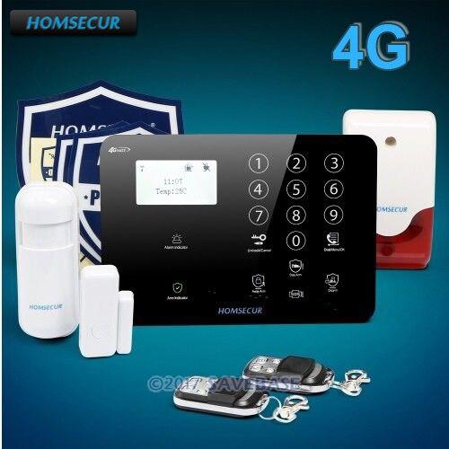 HOMSECUR Wireless&wired 4G/GSM LCD Burglar Intruder Alarm System+IOS/Android APP homsecur app controlled wireless gsm burglar intruder alarm system with 4 pet immune pir