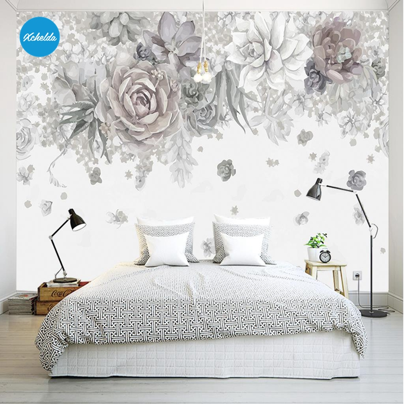 XCHELDA Custom 3D Wallpaper Design Gray Rose 2 Photo Kitchen Bedroom Living Room Wall Murals Papel De Parede Para Quarto kalameng custom 3d wallpaper design street flower photo kitchen bedroom living room wall murals papel de parede para quarto