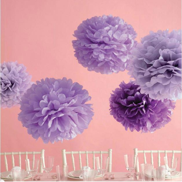 6pclot 6 8 1015cm20cm25cm Decorative Tissue Paper Poms Purple
