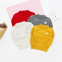 WYNNE GADIS Autumn Baby Boys Solid Long Sleeve O Neck Knitwear Sweater Kids Girls Smiling Face