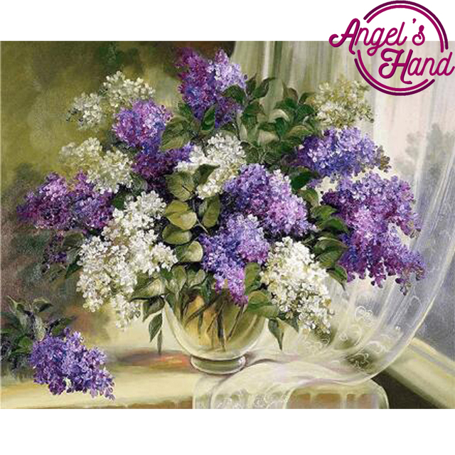 Mosaic Pattern Beaded Embroidery Purple And White Lilac Flower Vase