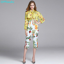 QYFCIOUFU High Quality Casual 2 Piece Set Women Long Sleeves Tops Chiffon Blouse + Runway Printed High Waisted Pants