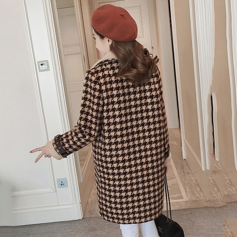 camel Laine Mode Manteau Outwear 2018ym380 orange De Vers Hiver Angleterre Breasted Femmes Double vert Tournent Style Automne blanc Le bleu Vintage Long Bas Plaid Noir FwTqSS