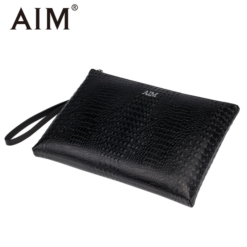 AIM Crocodile Pattern Men Clutch Wallets Vintage Purse Brand Leather Wallet Long Men's Clutch Wallet Carteras Mujer Bags