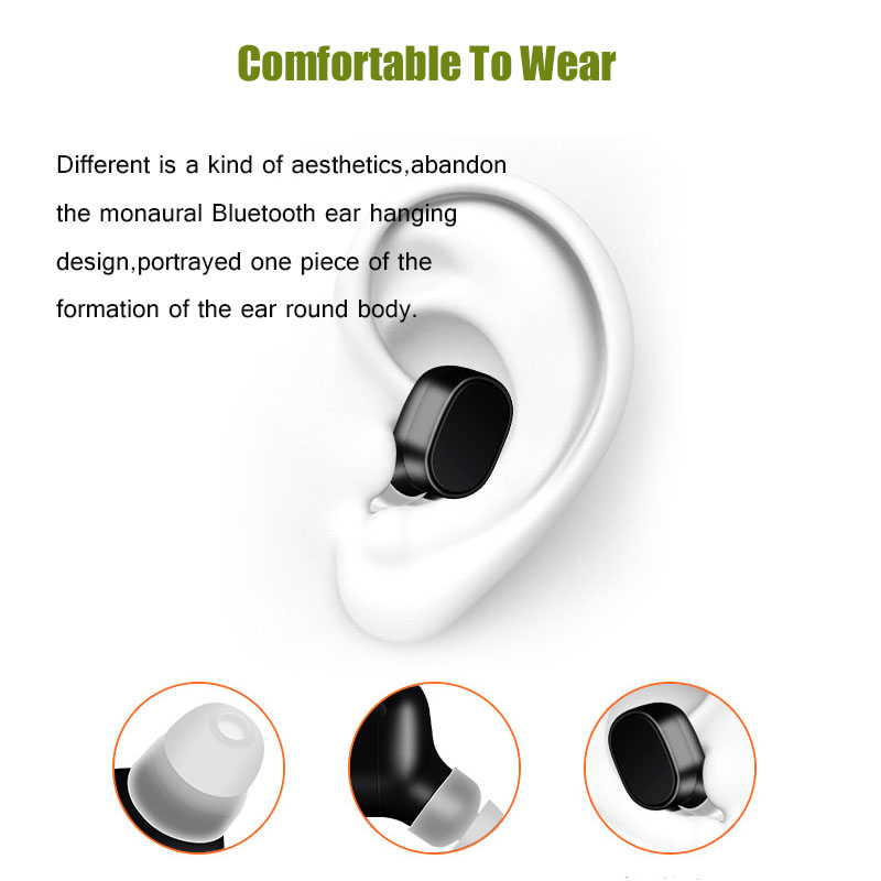 Mini Bluetooth Earphone Sports Wireless Headset 3D Stereo Earbud Noise Cancelling with Microphone for USN Computers USNBOOK