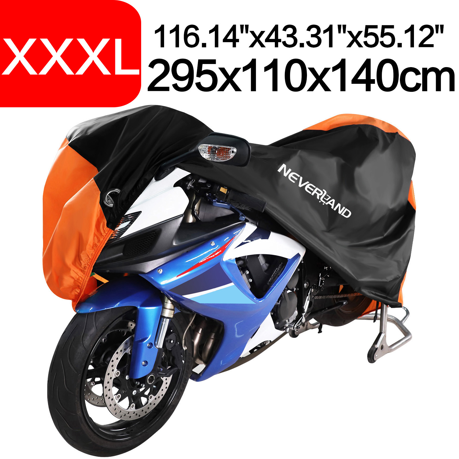 295x110x140cm Orange 190T Waterproof Rain Dust UV Outdoor Indoor Motorcycle Cover Coat For KTM