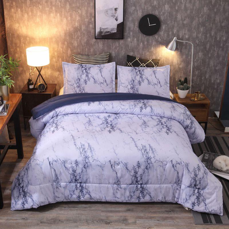 3 pièces/ensemble 228*228cm marbre housse de couette et taie d'oreiller en mode douce maison literie draps plats taies d'oreiller cadeau