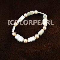 Ładne special w kształcie (kwadrat, retangle, owalne) biały i różowy naturalne słodkowodne perły bransoletka na elastyczne