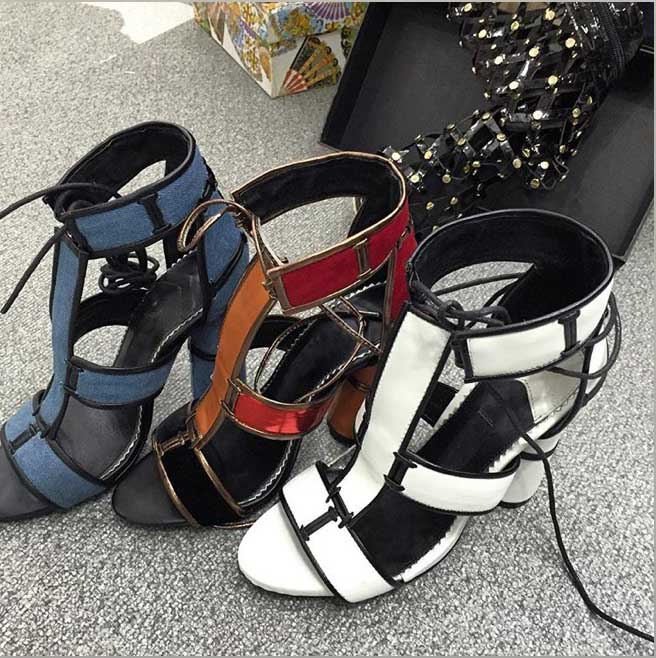 ... Women Dress For Ladies Chunky Cage Feminino Patchwork Sandals Gladiator  Sapato Heels Shoes Rihanna UP Shoes ... 28bdb3f5fe60