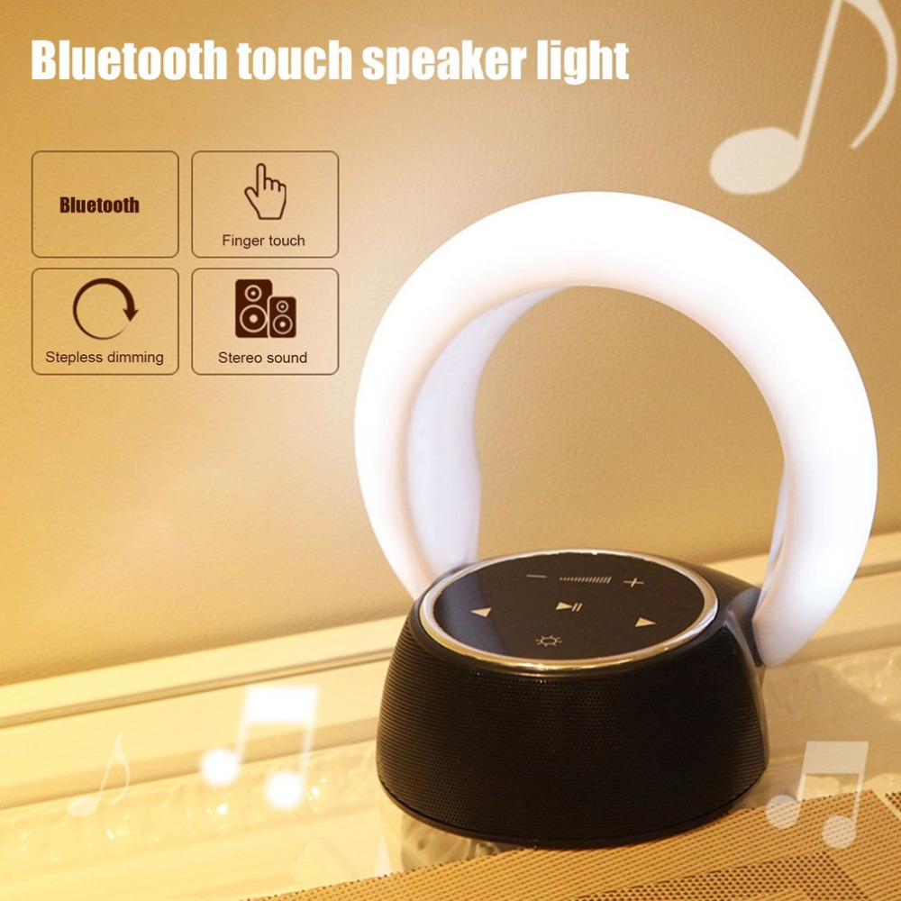 Bluetooth Speaker LED Night Light Moon Bay Touch Panel with Ambient Home Room Decor Stereo HiFi Portable Wireless Loudspeaker