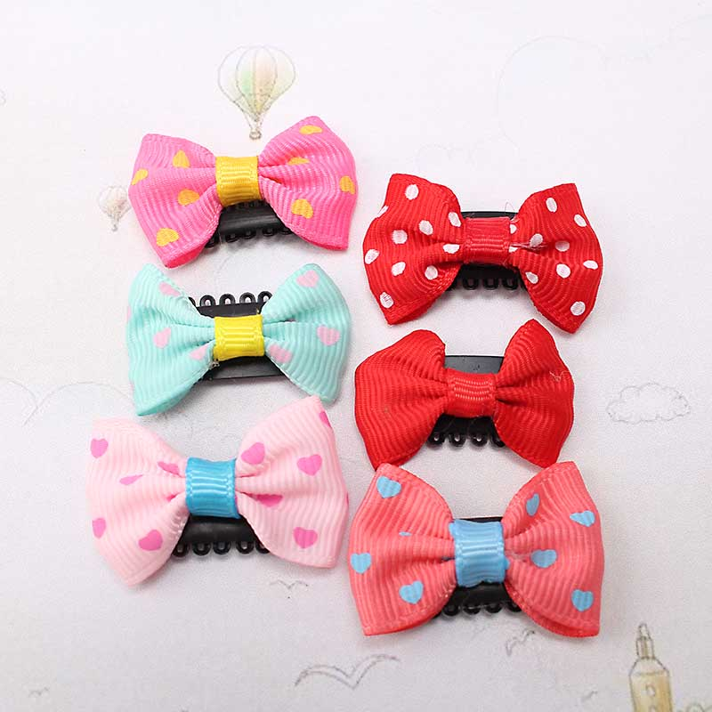 M MISM New Lovely Cute Dot Bow Knot Hair Combs Hair Clip for Children Girls Kids Hairpins Hair Accessories Ornaments Hairgrip m mism new arrival girls yarn hair accessories pearls crown shaped fabric hairpins bb christmas dancing party princess hair clip