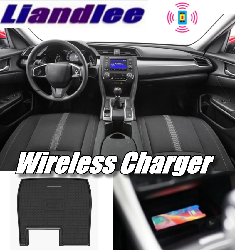 Liandlee Wireless Car Phone Charg Er Armrest Storage Compartment Fast Qi Charging For HONDA Civic FC 2016~2019