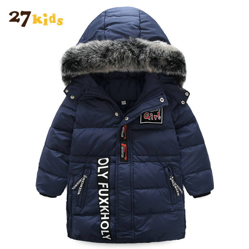 27Kids Winter jackets for boys kids thick hooded fur collar down jacket children warm outerwear Winter Clothes park kit for boy new 2017 winter baby thickening collar warm jacket children s down jacket boys and girls short thick jacket for cold 30 degree