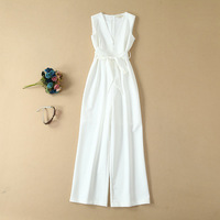 Women girls pink jumpsuit sleeveless cut out high street sexy rompers summer 2019 white overalls sashes deep V neck