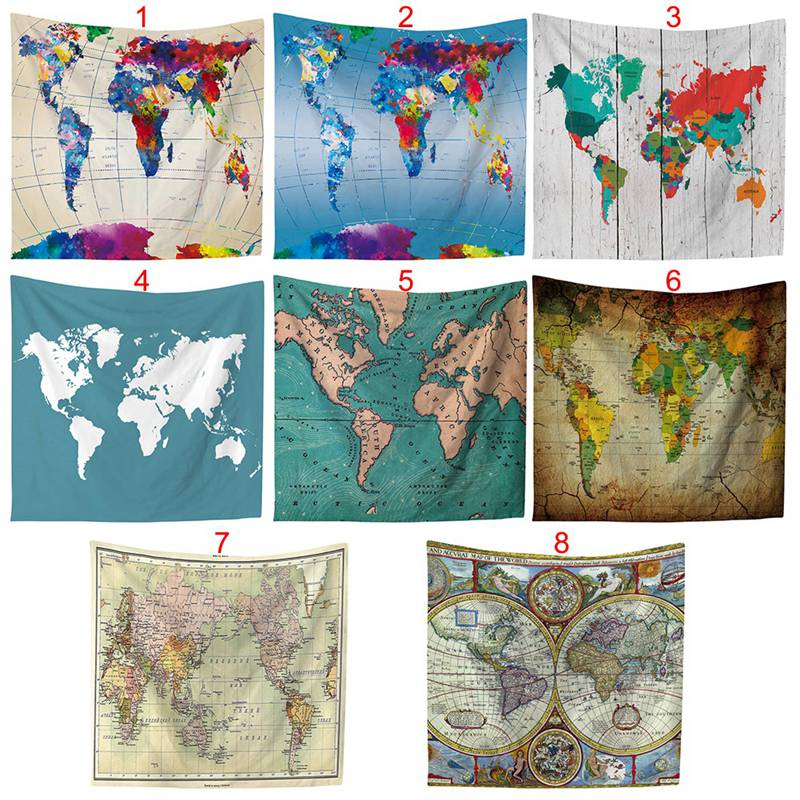 World Map Wall Art Home Decor Tapestry Black Cotton Blend Wall