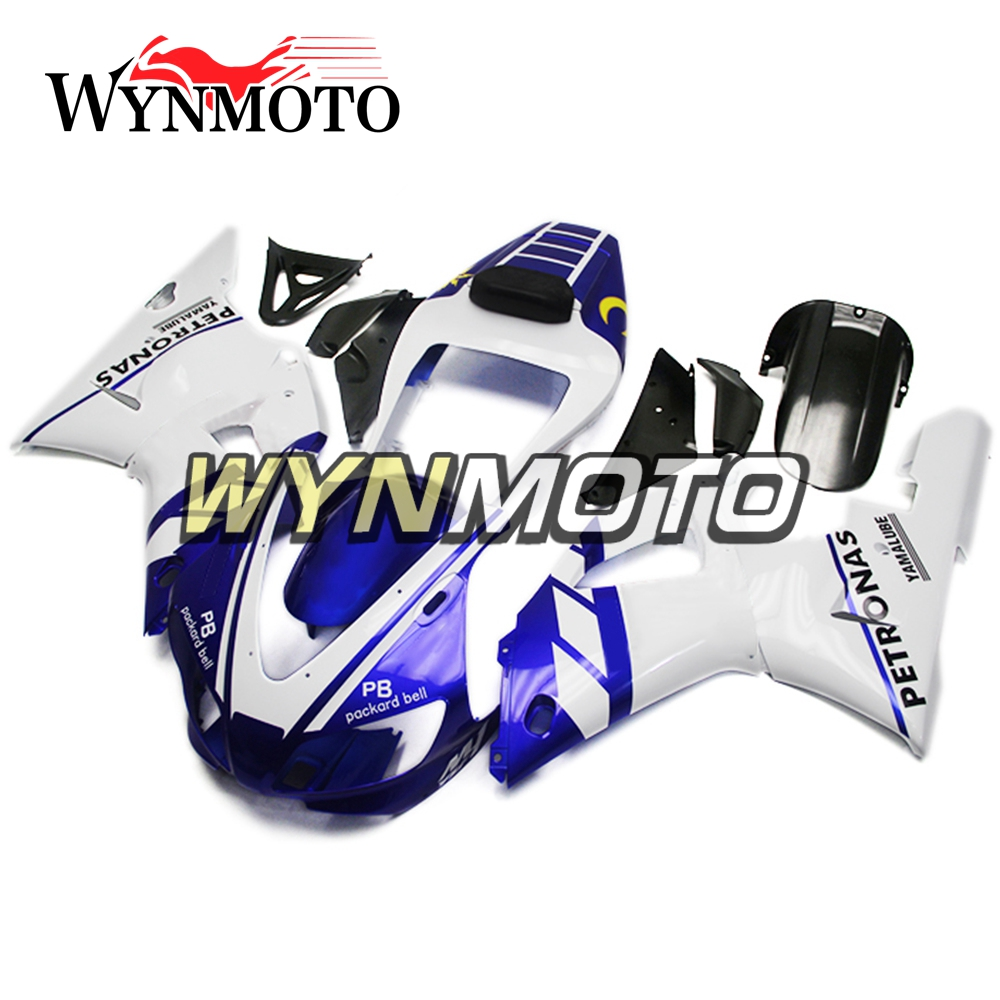 Complete Fairings Kit For Yamaha YZF1000 1998-1999 R1 Year 98 99 Injection ABS Plastics Full Kit Bodywork Blue White Motorbike