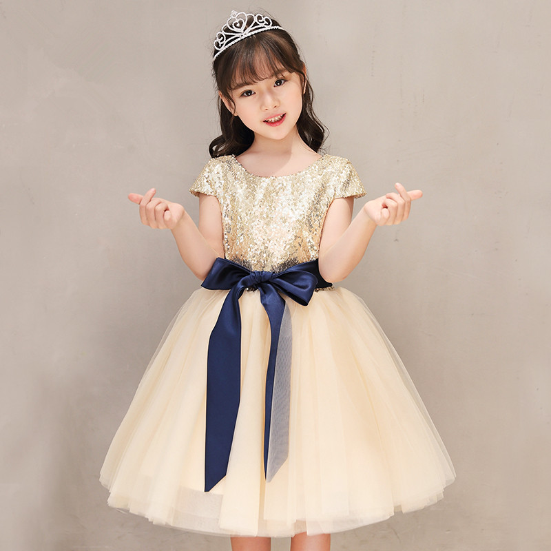Elegancka złota cekinowa koronka dziewczyna letnia sukienka urodziny wesele księżniczka chrzest suknia formalna dziewczynka pierwsza komunia suknia w Suknie od Matka i dzieci na AliExpress - 11.11_Double 11Singles' Day 1