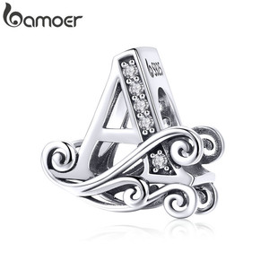 Image 4 - bamoer Name Jewelry Letter A Charm Bracelet Silver 925 Alphabet Metal Beads Female Fashion DIY Jewelry Making SCB829