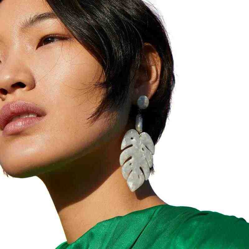 ZA*2019 New Fashion Trend Acrylic Acetate Earrings Exaggerated Design Sense Leaves Earrings For Women INS Jewelry Accessories