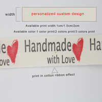 Customize personalized design customize LOGO printed cotton ribbon clothing Label ribbon DIY handmade materials tape 100 yards