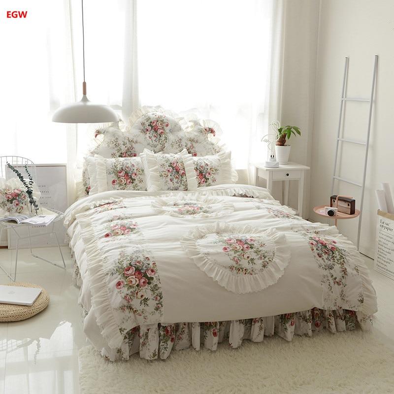 Disque fleur mariage ensemble de literie 100% coton style coréen beige lit jupe ensemble rose princesse housse de couette taies d'oreiller textile à la maison