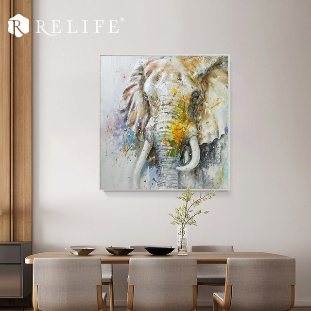 Gerahmte Acryl Handgemalte Elefanten Olgemalde Auf Holz
