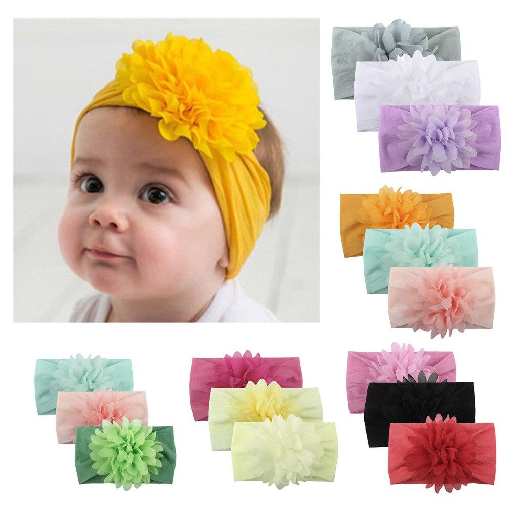 3PCS Baby Kids Headband Flower For Girl Unisex Solid Floral Knot Headband Set Newborn Kids Turban Hair Band Accessoire Gift K322