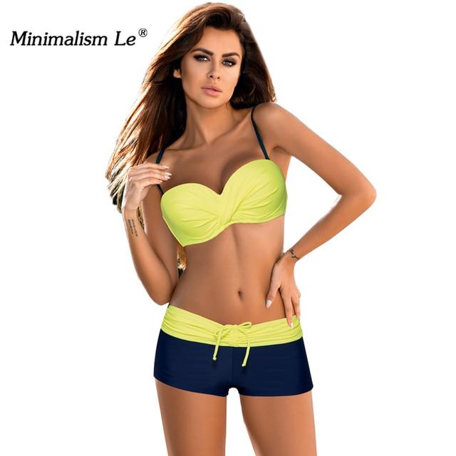 Minimalism Le 2018 Sexy Push Up Swimwear New Style Bikini Sets Bandage Swimsuit Patchwork Bikinis Bathing Suits Biquini Bk107