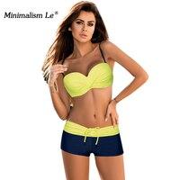 Minimalism Le 2018 Sexy Push Up Swimwear New Style Bikini Sets Bandage Swimsuit Patchwork Bikinis Bathing