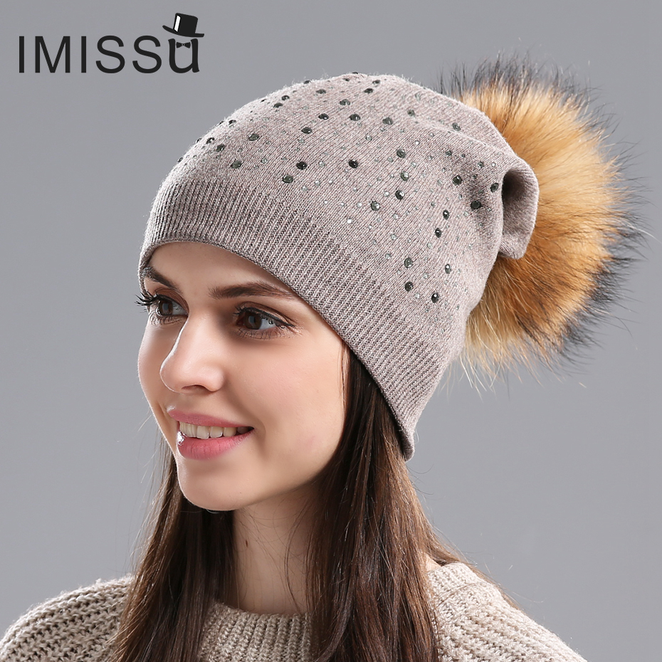 IMISSU Brand New Women's Winter Hats Knitted Wool Skullies Casual Beanie with Real Raccoon Fur Pompom Solid Colors Bonnet Femme skullies