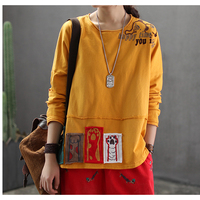 Womens Cotton Tops T Shirt Tees for Ladies Embroidery Cartoon O Neck Loose Big Fashion Casual for Spring Summer 60022