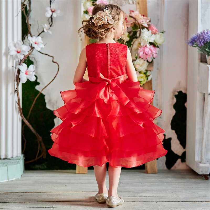 Baby Girl Frocks Dress For Girls Flower Wedding Party Dresses Toddler Kids Princess Dress Children Girl Clothing Graduation Gown 6