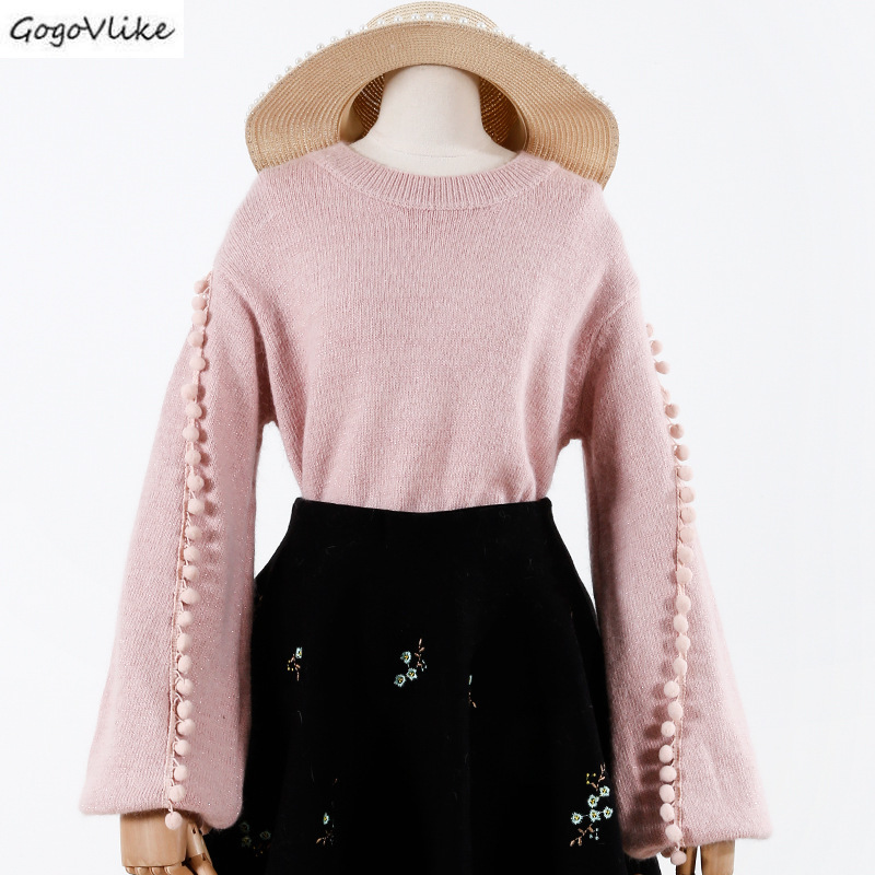 Pink Pullover Sweater Women Jumper Clothing Sweater Female Ball Top Female Thick Winter Oversized Knitted Sweaters LT991S50(China)