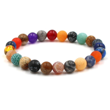 HOBBORN Trendy Chakra Natural Stone Bracelet for Women Men Colorful Weathered Onyx Tiger Eye Map Picture Beads Bracelets Pulsera