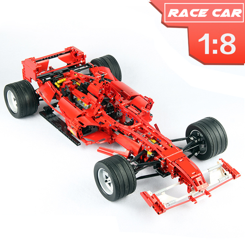 1242pcs Technic Series the Red F1 Formula Racing Car 1:8 Model Set Building Blocks Bricks Compatible Legoinglys Technic 8461 цена