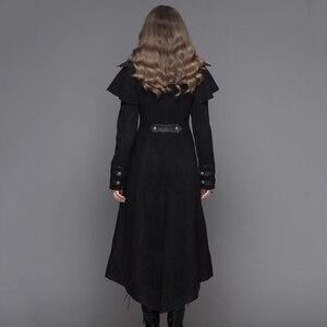 Image 3 - שטן אופנה Steampunk סתיו חורף נשים גותי ארוך מעיל פאנק שחור ארוך שרוולים עבה מעילי מעילי מעילי Slim